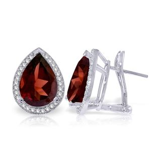 EARRING WITH NATURAL DIAMONDS & GARNETS